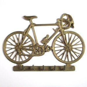 Vintage Brass Bicycle 5 Key Hook Rack
